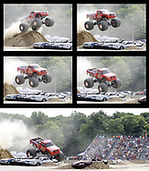 Monster Truck Hot Tamale, driven by Isiah Morales, from Monterey, Mexico competes in the freestyle contest during Extreme Motor Mayhem at Hara Arena, Saturday, June 30th.  During the evening performance, his truck developed a problem, and he was unable to drive it on Sunday.