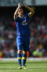 Everton's Gareth Barry applauds the away fans at full time