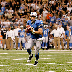2009 September 13: Detroit Lions rookie quarterback Matthew Stafford (9) scrambles on a play during a 45-27 win by the New Orleans Saints over the Detroit Lions at the Louisiana Superdome in New Orleans, Louisiana.