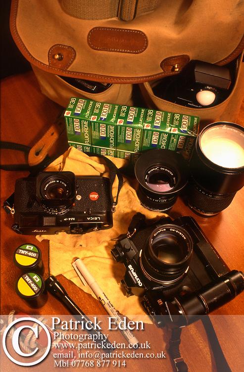 Equipment taken to India.<br /> Olympus OM-4Ti Black,<br /> 28mm f2 Zuiko Lens,<br /> 85mm f2 Zuiko Lens,<br /> 180mm f2.8 Zuiko Lens,<br /> Leica M4-P,<br /> 35mm f2 Summicron Lens,<br /> Minotla Exposure Meter,<br /> 30 Rolls of Fuji 100 Provia Film.<br /> 5 Rolls 0f 400 Black and White film.