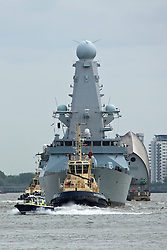 © Licensed to London News Pictures. 20/05/2016. Type 45 Destroyer HMS Duncan has arrived in London for a port visit. The 152 metre long Royal Navy ship is visiting London for the time. She was commissioned in to the Navy in 2013. Credit: Rob Powell/LNP
