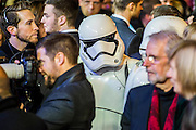 A Stormtrooper in the crowd - The European Premiere of STAR WARS: THE FORCE AWAKENS - Odeon, Empire and Vue Cinemas, Leicester Square, London.