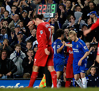 Photo: Daniel Hambury.<br />Chelsea v Liverpool. The Barclays Premiership. 05/02/2006.<br />Chelsea's Damien Duff comes on as a substitute for Joe Cole in the second half.