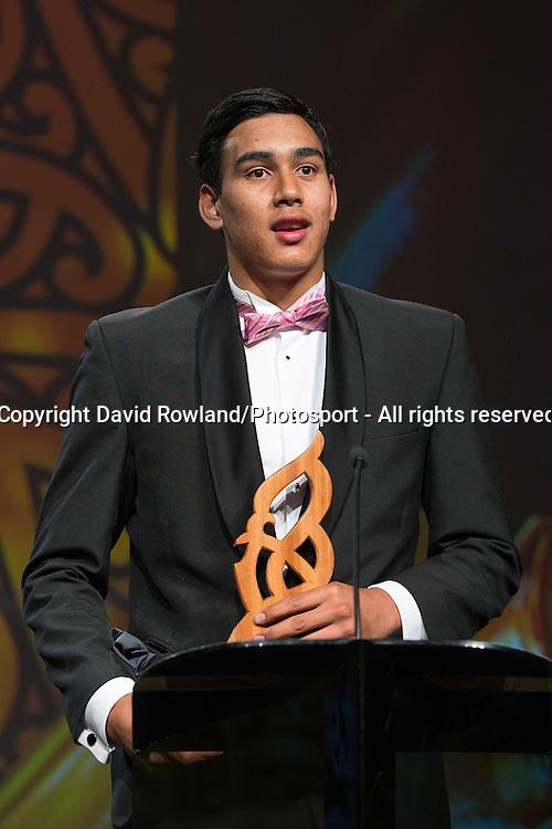 Junior Maori Sportsman was awarded to Tai Hikuroa Wynyard at the Maori Sports Awards 2014, Vodafone Events Centre, Manukau, Auckland, New Zealand, Saturday, November 29, 2014. Photo: David Rowland/Photosport