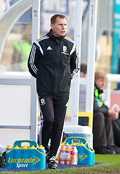 BANGOR, WALES - Thursday, May 8, 2014: Wales' manager Jarmo Matikainen during the FIFA Women's World Cup Canada 2015 Qualifying Group 6 match against Montenegro at the Nantporth Stadium. (Pic by David Rawcliffe/Propaganda)