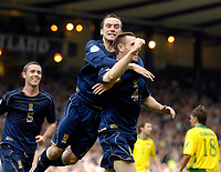 Photo: Jed Wee/Sportsbeat Images.<br /> Scotland v Lithuania. UEFA European Championships Qualifying. 08/09/2007.<br /> <br /> Scotland's Stephen McManus (R) celebrates after his goal and is joined by James McFadden, who got Scotland's third.