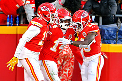 Jan 19, 2020; Kansas City, Missouri, USA; Kansas City Chiefs wide receiver Sammy Watkins (14) celebrates after scoring a touchdown during the second half against the Tennessee Titans in the AFC Championship Game at Arrowhead Stadium. Mandatory Credit: Denny Medley-USA TODAY Sports