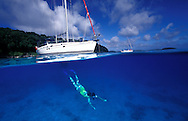 Snorkelling from a charter yacht in Vava'u islands, Tonga..To use this image please contact Getty Images. Getty #200135009-001