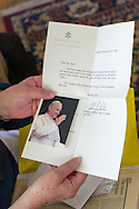 10 June 2015 Point Pleasant Beach USA/ Joan Barry's correspondence with the Holy Father John Paul II. Joan Barry had written the Pope to relay her great uncles actions on the Titanic. Father Thomas Roussel Davids Byles (26 February 1870 – 15 April 1912) was an English Catholic priest who famously remained on board the RMS Titanic as she was sinking after colliding with an iceberg, hearing confessions and giving absolution. /  Michael Glenn For the Monitor