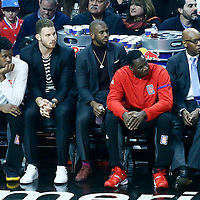 26 December 2016: LA Clippers forward Blake Griffin (32) is seen on the bench next to LA Clippers guard Chris Paul (3) during the Denver Nuggets 106-102 victory over the LA Clippers, at the Staples Center, Los Angeles, California, USA.