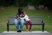 Elizabeth and Elijah playing in Almont Park, Mattapan, Massachusetts, September 2018.