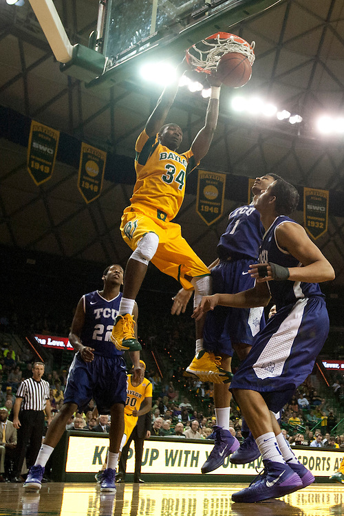 WACO, TX - JANUARY 11: Cory Jefferson #34 of the Baylor Bears dunks the ball against the TCU Horned Frogs on January 11, 2014 at the Ferrell Center in Waco, Texas.  (Photo by Cooper Neill/Getty Images) *** Local Caption *** Cory Jefferson