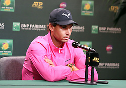 March 16, 2019 - Indian Wells, CA, U.S. - INDIAN WELLS, CA - MARCH 16: Rafael Nadal (ESP) speaks to the media after announcing he will not play his semifinal match against Roger Federer due to injury at the BNP Paribas Open on March 16, 2019, at the Indian Wells Tennis Gardens in Indian Wells, CA. (Photo by Adam Davis/Icon Sportswire) (Credit Image: © Adam Davis/Icon SMI via ZUMA Press)