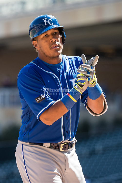 MINNEAPOLIS, MN- APRIL 6: Salvador Perez #13 of the Kansas City Royals celebrates his home run against the Minnesota Twins on April 6, 2017 at Target Field in Minneapolis, Minnesota. The Twins defeated the Royals 5-3. (Photo by Brace Hemmelgarn) *** Local Caption *** Salvador Perez