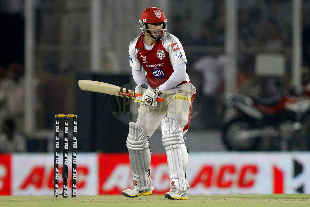 Kings XI Punjab player David Hussey play a shot during match 48 of the the Indian Premier League ( IPL) 2012  between The Kings X1 Punjab and The Rajasthan Royals held at the Punjab Cricket Association Stadium, Mohali on the 5th May 2012..Photo by Pankaj Nangia/IPL/SPORTZPICS