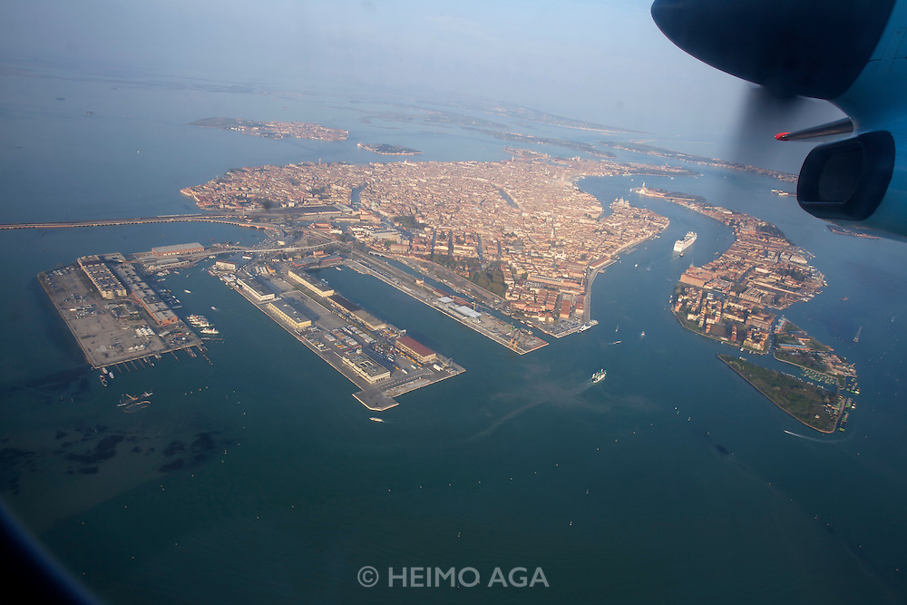 Venice and the lagoon seen from aboard an Austrian Airlines Dash landing from Vienna.