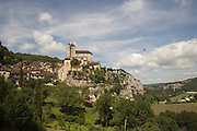 View of St Cirq Lapopie in the Lot River Valley, France.