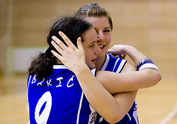 Players of Celje Nika Baric and Lea Jagodic celebrate at finals match of Slovenian 1st Women league between KK Hit Kranjska Gora and ZKK Merkur Celje, on May 14, 2009, in Arena Vitranc, Kranjska Gora, Slovenia. Merkur Celje won the third time and became Slovenian National Champion. (Photo by Vid Ponikvar / Sportida)