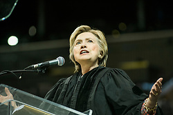HILLARY CLINTON delivers the commencement address at Medgar Evers College, a central Brooklyn school that is part of the City University of New York. The ceremony took place at the Barclay's Center in Brooklyn.