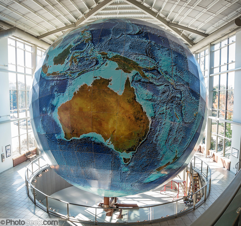 See Eartha, World's Largest Globe (41.1 ft in diameter), at DeLorme Headquarters Map Store, in Yarmouth, Maine, USA. DeLorme makes my favorite state atlases. Take Interstate 295 Exit 17 (10 min north of Portland). The panorama was stitched from 2 overlapping photos.