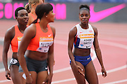 Dina Asher-Smith after the Woman 100m during the Sainsbury's Anniversary Games at the Queen Elizabeth II Olympic Park, London, United Kingdom on 25 July 2015. Photo by Phil Duncan.