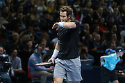Andy Murray wins a vital game during the ATP World Tour Finals at the O2 Arena, London, United Kingdom on 20 November 2015. Photo by Phil Duncan.