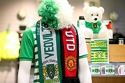 Half and half Yeovil Town Manchester United scarves on sale in the shop - Rogan/JMP - 26/01/2018 - FOOTBALL - Huish Park - Yeovil, England - Yeovil Town v Manchester United - FA Cup Fourth Round.