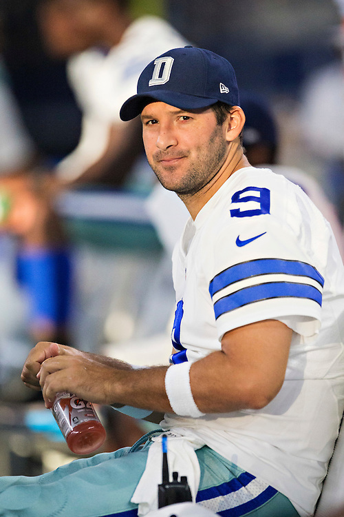 ARLINGTON, TX - SEPTEMBER 3:  Tony Romo #9 of the Dallas Cowboys on the sidelines during a preseason game against the Houston Texans at AT&T Stadium on September 3, 2015 in Arlington, Texas.  The Cowboys defeated the Texans 21-14.  (Photo by Wesley Hitt/Getty Images) *** Local Caption *** Tony Romo