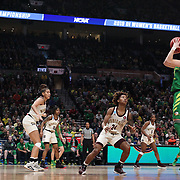 March 31, 2019; Portland, OR, USA; Oregon Ducks guard Sabrina Ionescu (20) shoots over Mississippi State Bulldogs guard Jordan Danberry (24) in the Elite Eight of the NCAA Women's Tournament at Moda Center.<br /> Photo by Jaime Valdez