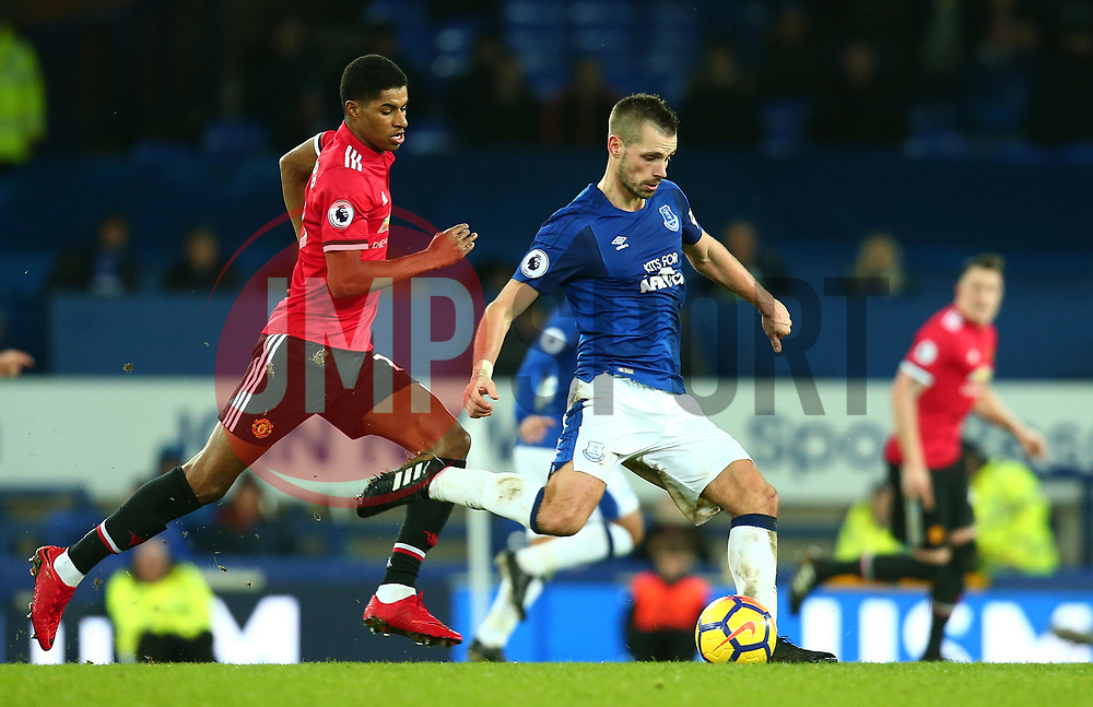 Morgan Schneiderlin of Everton takes on Marcus Rashford of Manchester United - Mandatory by-line: Robbie Stephenson/JMP - 01/01/2018 - FOOTBALL - Goodison Park - Liverpool, England - Everton v Manchester United - Premier League