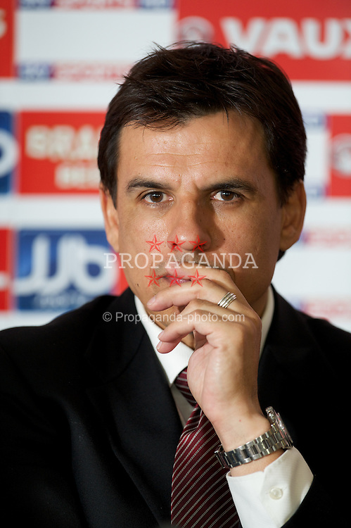 CARDIFF, WALES - Thursday, January 19, 2012: Wales' new national team manager Chris Coleman during a press conference to announce his appointment at the St. David's Hotel. (Pic by David Rawcliffe/Propaganda)