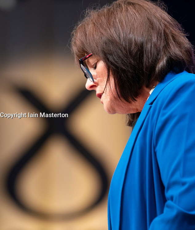 Edinburgh, Scotland, UK. 28 April, 2019. Day 2 of thee SNP ( Scottish National Party) Spring Conference takes place at the EICC ( Edinburgh International Conference Centre) in Edinburgh. Pictured; Jeanne Freeman MSP, Secretary for Health and Sport making speech to delegates