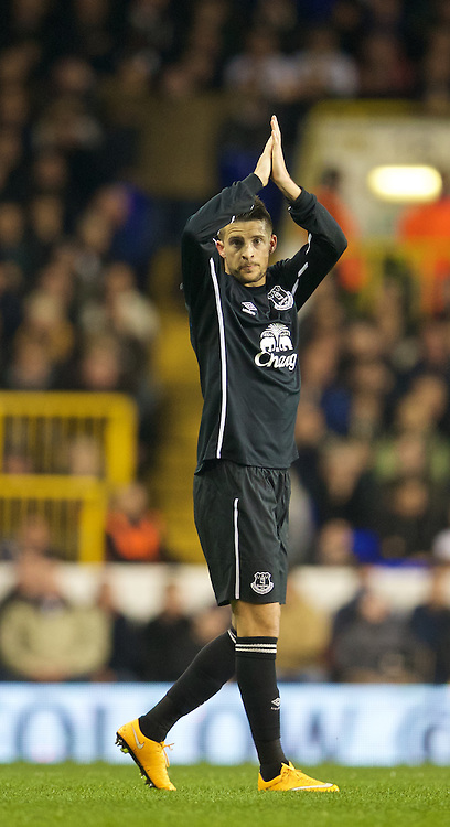 LONDON, ENGLAND - Sunday, November 30, 2014: Everton's Kevin Mirallas celebrates scoring the first goal against Tottenham Hotspur during the Premier League match at White Hart Lane. (Pic by David Rawcliffe/Propaganda)