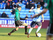 Michael Rose, Romain Vincelot during the Sky Bet League 1 match between Coventry City and Rochdale at the Ricoh Arena, Coventry, England on 5 March 2016. Photo by Daniel Youngs.