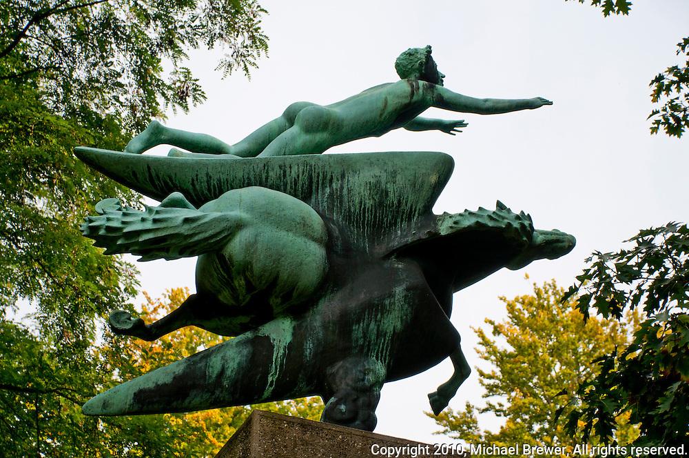 Middleheim Sculpture Park, Antwerp, Belgium - Bronze of Icarus and Pegasus