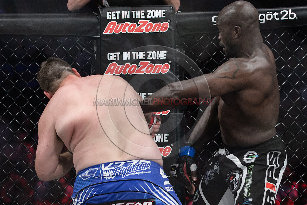 "SOUTHAVEN, TN, MAY 17, 2014: Action in and around the cage during ""Bellator 120: Rampage vs. King Mo"" inside the Landers Center in Southaven, Tennessee (© Martin McNeil)"