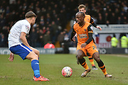 HUll City Forward, Sone Aluko in action during the The FA Cup fourth round match between Bury and Hull City at Gigg Lane, Bury, England on 30 January 2016. Photo by Mark Pollitt.