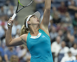 September 6, 2017 - New York, New York, United States - Coco Vandeweghe of USA serves during match against Karolina Pliskova of Czech Republic at US Open Championships at Billie Jean King National Tennis Center  (Credit Image: © Lev Radin/Pacific Press via ZUMA Wire)