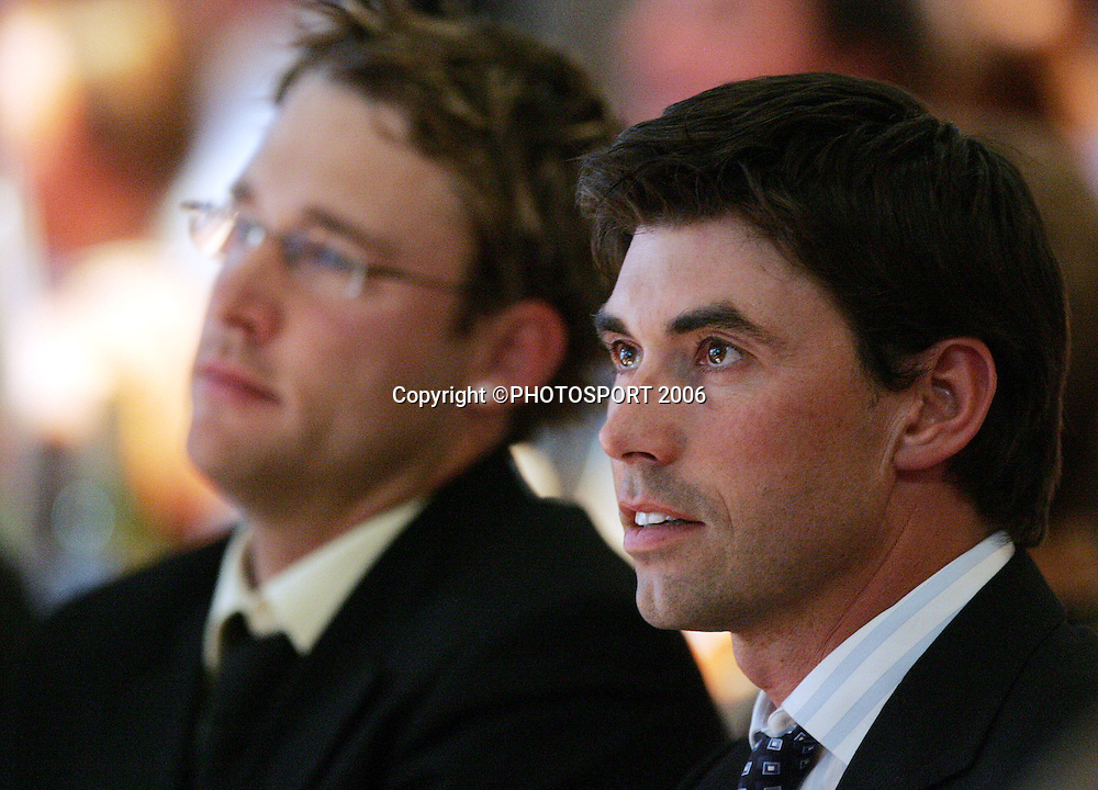 Black Caps captain Stephen Fleming and National Bank Cup player of the Year Daniel Vettori (background) at the New Zealand Cricket Awards held at Langham Hotel, Auckland, on Thursday 30 March, 2006. Photo: Andrew Cornaga/PHOTOSPORT