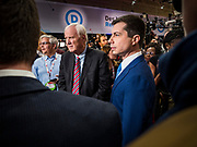 "14 JANUARY 2020 - DES MOINES, IOWA: Former mayor PETE BUTTIGIEG, right, talks MSNBC anchor CHRIS MATTHEWS in the ""spin room"" at the CNN Democratic Presidential Debate on the campus of Drake University in Des Moines. This is the last debate before the Iowa Caucuses on Feb. 3.   PHOTO BY JACK KURTZ"
