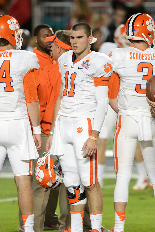 January 3, 2014: Chad Kelly #11 of Clemson warms up before the NCAA football game between the Clemson Tigers and the Ohio State Buckeyes at the 2014 Orange Bowl in Miami Gardens, Florida.