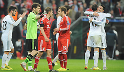 29.04.2014, Allianz Arena, Muenchen, GER, UEFA CL, FC Bayern Muenchen vs Real Madrid, Halbfinale, Ruckspiel, im Bild vl. Isco (Real Madrid), Torwart Iker Casillas (Real Madrid), Philipp Lahm (FC Bayern Muenchen), Mario Goetze (FC Bayern Muenchen),Gareth Bale (Real Madrid) und Cristiano Ronaldo (Real Madrid) // during the UEFA Champions League Round of 4, 2nd Leg Match between FC Bayern Munich vs Real Madrid at the Allianz Arena in Muenchen, Germany on 2014/04/29. EXPA Pictures © 2014, PhotoCredit: EXPA/ Eibner-Pressefoto/ Stuetzle<br /> <br /> *****ATTENTION - OUT of GER*****