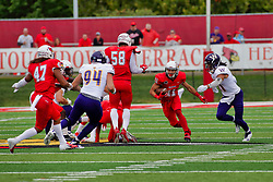 NORMAL, IL - October 06: Spencer Schnell looking for a few more yards during a college football game between the ISU (Illinois State University) Redbirds and the Western Illinois Leathernecks on October 06 2018 at Hancock Stadium in Normal, IL. (Photo by Alan Look)