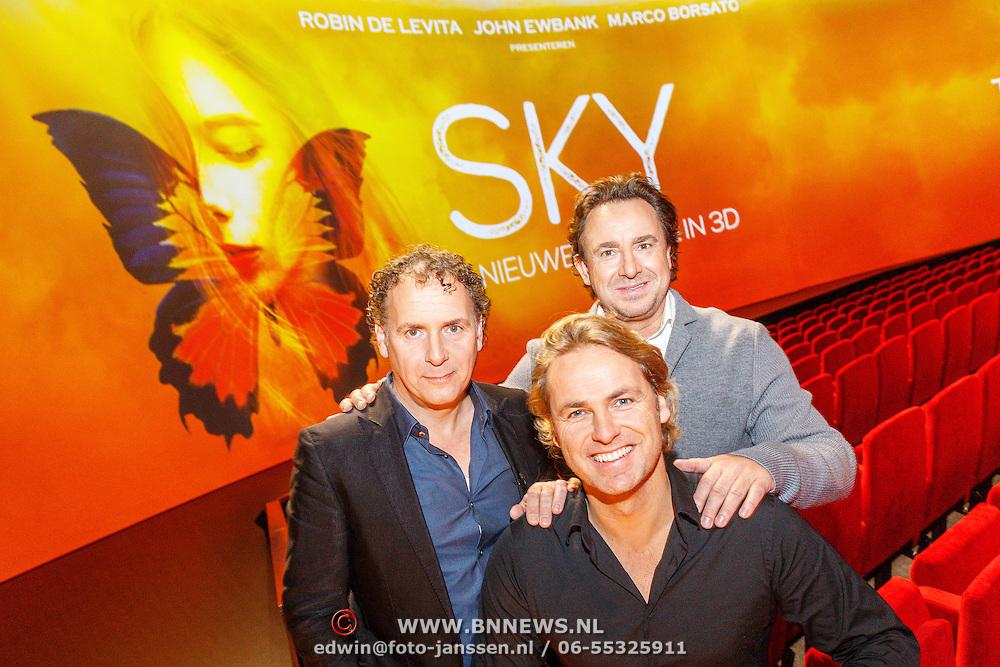 NLD/Amsterdam/20151207 - Perspresentatie nieuwe musical Sky van Robin de Levita, Marco Borsato en John Ewbank,