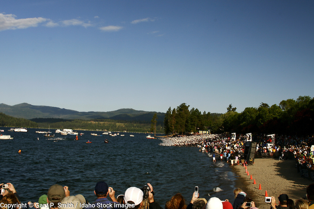Crowd watches the swim start at the Coeur d' Alene Ironman Triathlon 2007