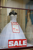 Wedding dress on sale in a shop window in Ireland