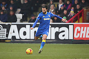 AFC Wimbledon defender George Francomb (7) shot on goal during the EFL Sky Bet League 1 match between AFC Wimbledon and Charlton Athletic at the Cherry Red Records Stadium, Kingston, England on 11 February 2017. Photo by Matthew Redman.