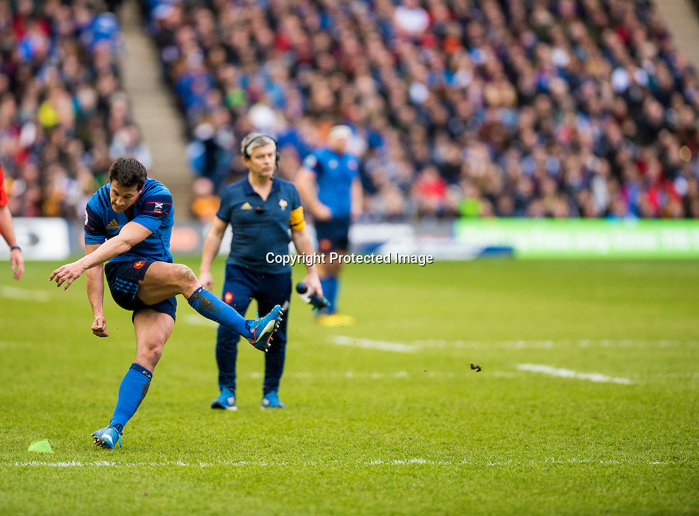 RBS 6 Nations Championship Round 4, Murrayfield, Scotland 13/3/2016<br /> Scotland vs France<br /> France's Francois Trinh-Duc misses a conversion<br /> Mandatory Credit &copy;INPHO/Craig Watson