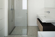 interior modern house, white bathroom with shower box