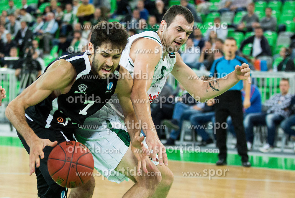 Davide Pascolo of Trento vs Sava Lesic #15 of KK Union Olimpija during basketball match between KK Union Olimpija Ljubljana and Dolomiti Energia Trento (ITA) in Round #1 of EuroCup 2015/16, on October 14, 2015 in Arena Stozice, Ljubljana, Slovenia. Photo by Vid Ponikvar / Sportida